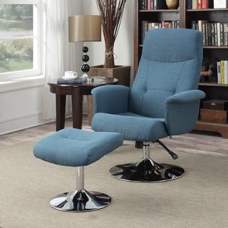 Handy Living Dahna Caribbean Blue Linen Chair and Ottoman