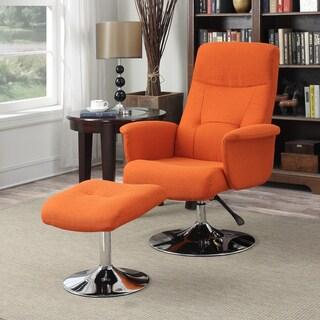 Handy Living Dahna Orange Linen Chair and Ottoman