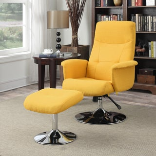 Handy Living Dahna Mustard Yellow Linen Chair and Ottoman