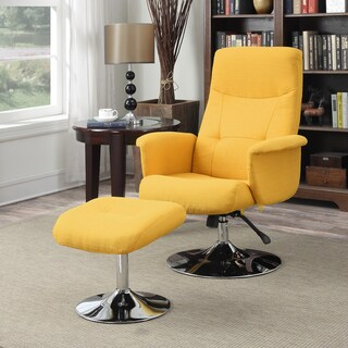 Perfect Handy Living Dahna Mustard Yellow Linen Chair And Ottoman