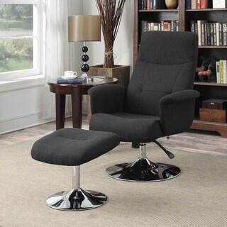 Handy Living Dahna Midnight Black Linen Chair and Ottoman