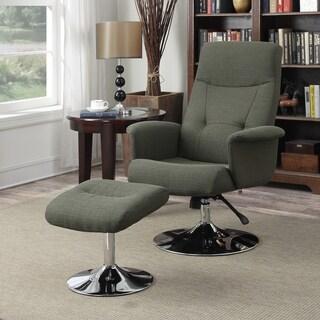 Handy Living Dahna Basil Green Linen Chair and Ottoman