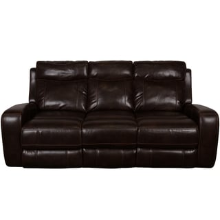 Porter Austin Chocolate Brown Faux Leather Power Reclining Sofa with Power Adjustable Headrests