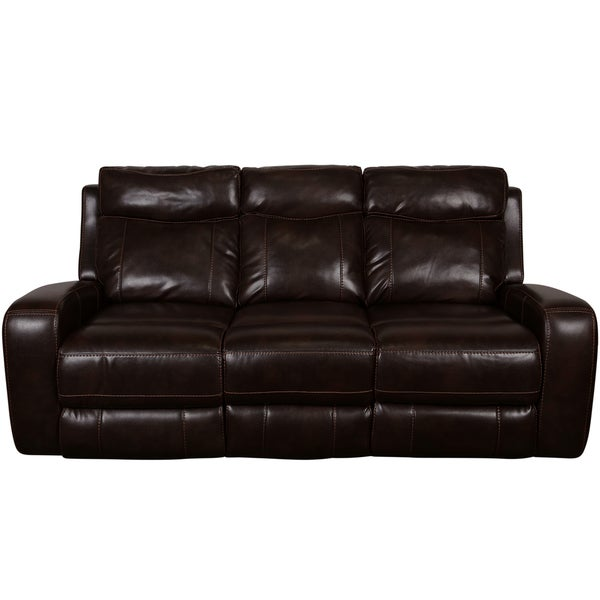Great Porter Austin Chocolate Brown Faux Leather Power Reclining Sofa With Power  Adjustable Headrests