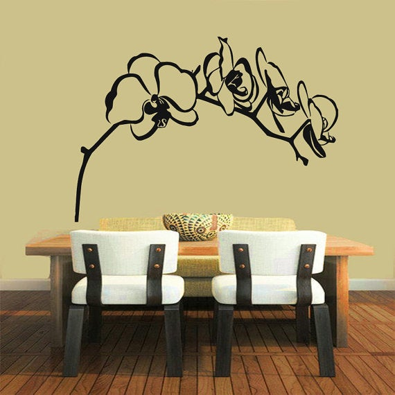 Orchid Flower Stickers Home Decor Tree Vinyl Art Spa Wall Decor ...