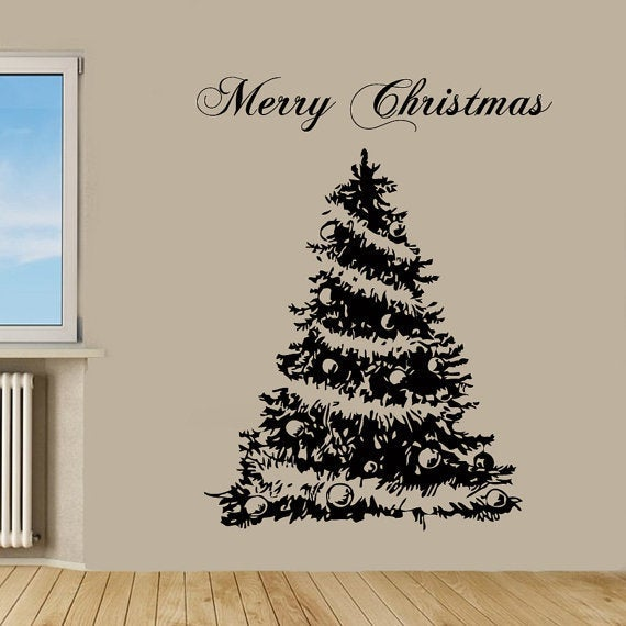 Merry Christmas Wall Words Christmas Tree Vinyl Sticker Home Decor ...
