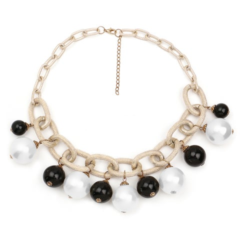Liliana Bella Goldplated Black/White Link Necklace with Pearls