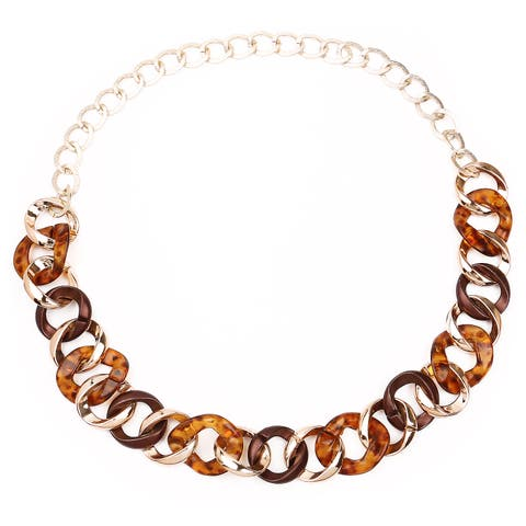 Liliana Bella Gold Plated Brown Chunky Fashion Link Necklace