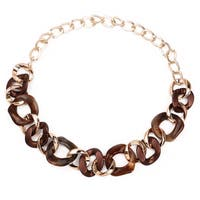 Liliana Bella Goldplated Brown Chunky Fashion Link Necklace