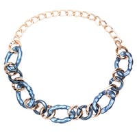 Liliana Bella Yellow Goldplated Blue Link Handmade Necklace