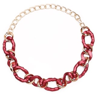 Liliana Bella Handmade Gold Plated Maroon Link Necklace