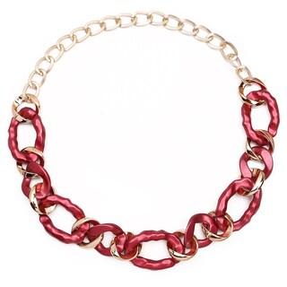Liliana Bella Handmade Gold Plated Maroon Link Necklace