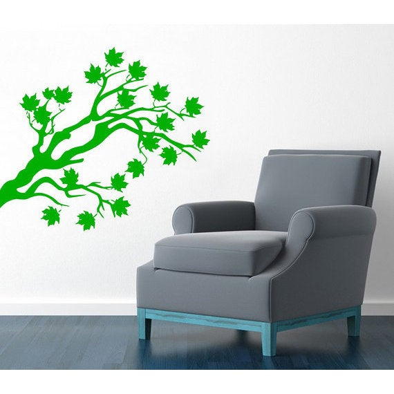 Tree Branch Decal Living Room Decor Home Design Interior Vinyl Sticker Bedroom Art Murals Sticker Decal size 22x26 Color Green