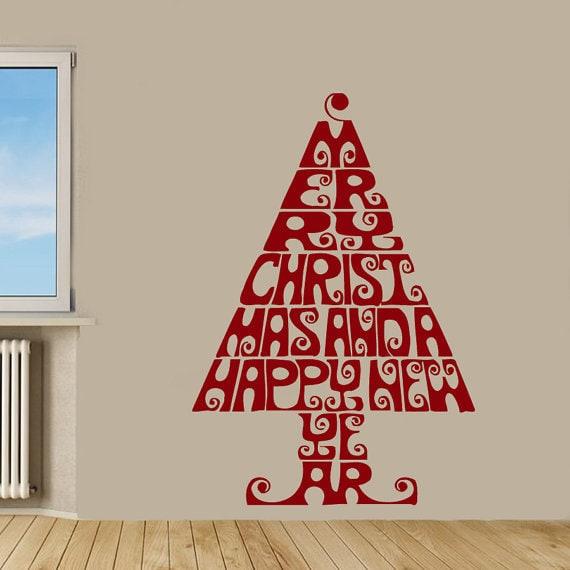 Merry Christmas Words Christmas Tree Home Decor Vinyl Art Wall Decor Nursery Room Decor Sticker Decal size 44x70 Color Black