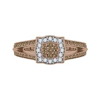 14k Rose Gold 3/5ct TDW White and Brown Diamond Fashion Ring