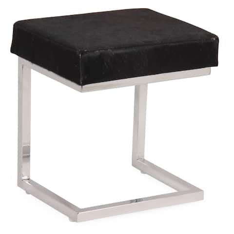 Dark Brown Cow Hide Stool COCO with Silver Stand