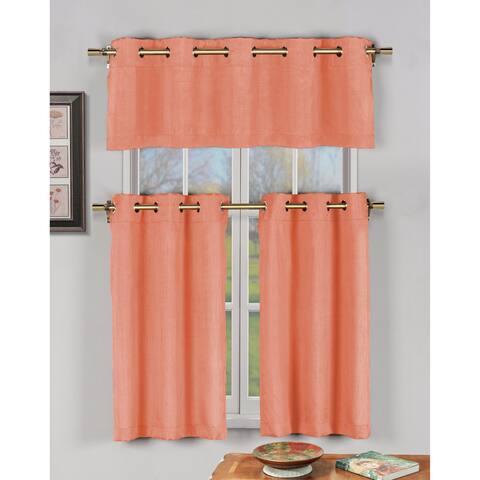 Duck River Agnes Faux Silk 3-piece Kitchen Curtain Tier