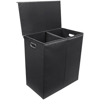 Hamper Laundry Sorter with Magnetic Lid Closure, Double, Black