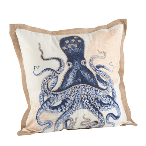 Octopus Print Cotton Down Filled Throw Pillow