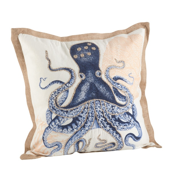 Octopus Print Cotton Down Filled Throw Pillow. Opens flyout.