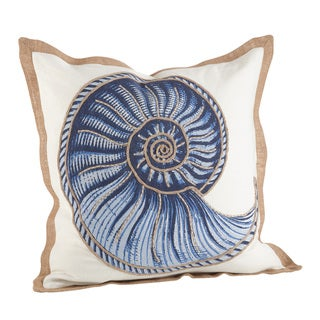 Nautilus Spiral Shell Print Cotton Down Filled Throw Pillow