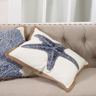 Star Fish Print Cotton Down Filled Throw Pillow|https://ak1.ostkcdn.com/images/products/14504700/P21061140.jpg?impolicy=medium