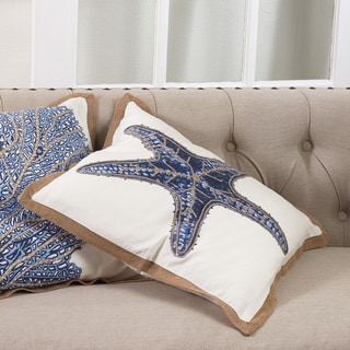 Star Fish Print Cotton Down Filled Throw Pillow