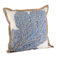 Sea Fan Coral Print Cotton Down Filled Throw Pillow