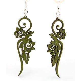 Green Flower Laser-Cut Wood Dangle Earrings