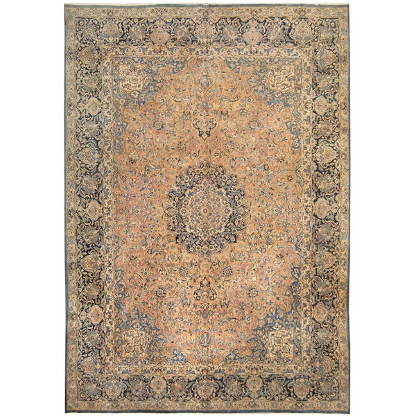 Herat Oriental Persian Hand-knotted 1920s Antique Tribal Kashan Wool Rug (9'8 x 13'9)