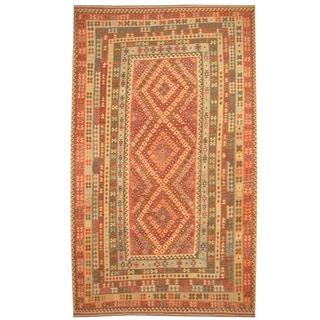 Herat Oriental Afghan Hand-woven Tribal Wool Mimana Kilim (9'9 x 16'5)