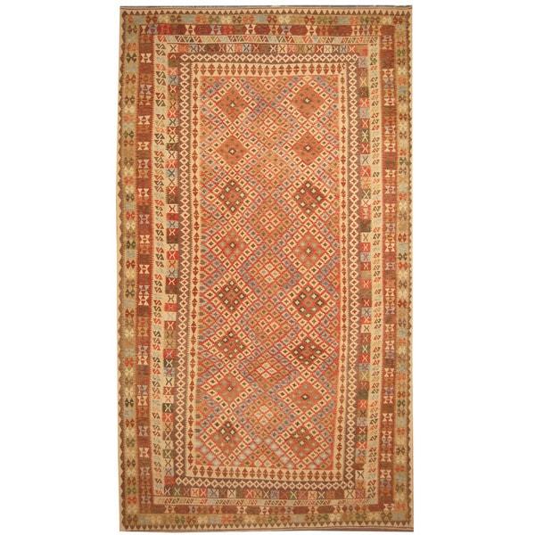 Handmade Herat Oriental Afghan Tribal Wool Mimana Kilim (Afghanistan) - 9'8 x 16'5