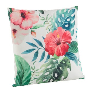 Tropical Floral Print Poly Filled Throw Pillow