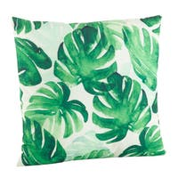 Green Leaf Print Down Poly Filled Throw Pillow