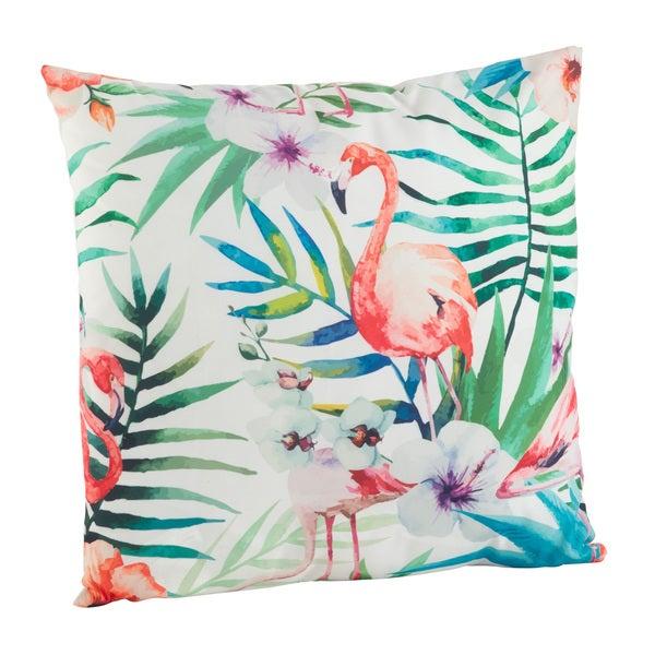 Tropical Flamingo Print Poly Filled Throw Pillow