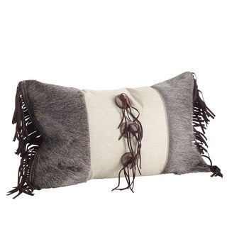Embellished Cowhide & Suede Fringe Down Filled Throw Pillow