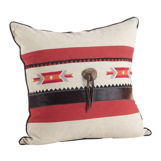 Cowhide Trim Southwestern Embellished Down Filled Pillow