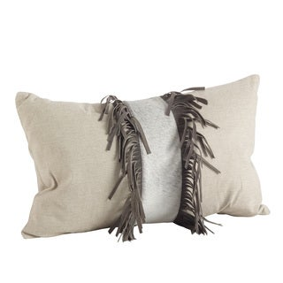 Natural Cowhide Suede Fringe Down Filled Pillow