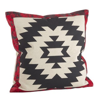 Red & Black Geometric Tribal Design Down Filled Pillow