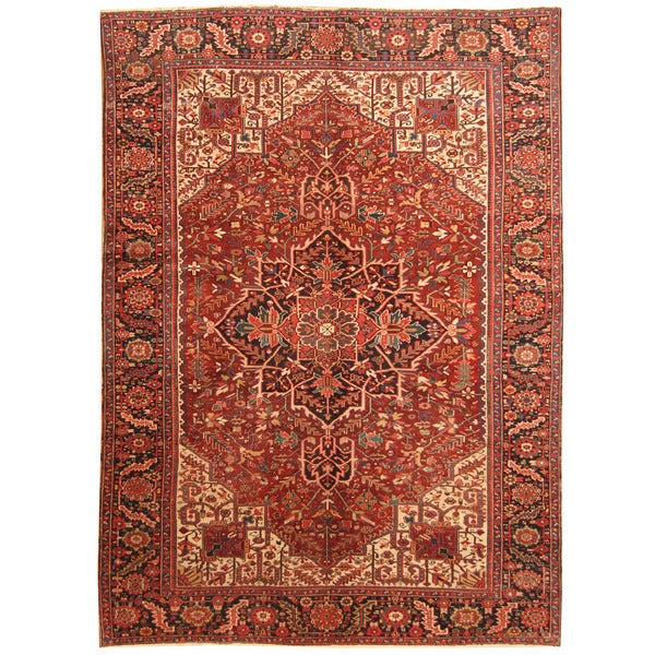 Handmade Herat Oriental Persian 1920s Antique Tribal Heriz Wool Rug - 9'2 x 12'10 (Iran)