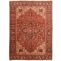 Herat Oriental Persian Hand-knotted 1920s Antique Tribal Heriz Wool Rug (9'2 x 12'10)