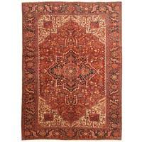 Handmade Herat Oriental Persian 1920s Antique Tribal Heriz Wool Rug - 9'2 x 12'10 (Iran)