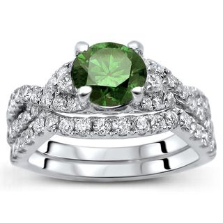 Noori 18k White Gold Certified 1 1/2ct TDW Green and White Diamond Bridal Set (F-G, SI2-I1)