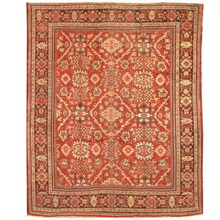Herat Oriental Persian Hand-knotted 1920s Antique Tribal Mahal Wool Rug (10'4 x 12'1)