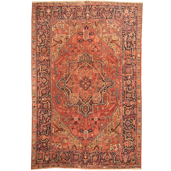 Vintage Persian Heriz Design Wool Area Rug: Herat Oriental Persian Hand-knotted 1910s Antique Tribal