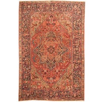 Handmade Herat Oriental Persian 1910s Antique Tribal Heriz Wool Rug (Iran) - 8'2 x 12'8