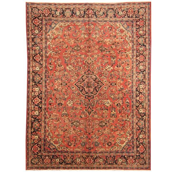 Herat Oriental Persian Hand-knotted 1920s Antique Tribal Mahal Wool Rug (9'2 x 12'2)