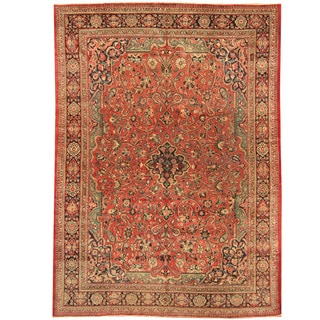 Herat Oriental Persian Hand-knotted 1920s Antique Tribal Mahal Wool Rug (8'9 x 11'10)