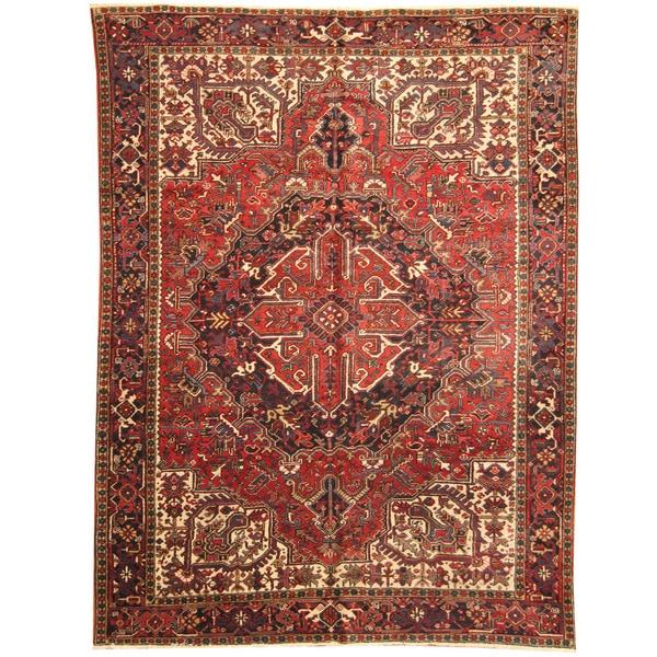 Herat Oriental Persian Hand-knotted 1940s Semi-antique Tribal Heriz Wool Rug (8'10 x 12')