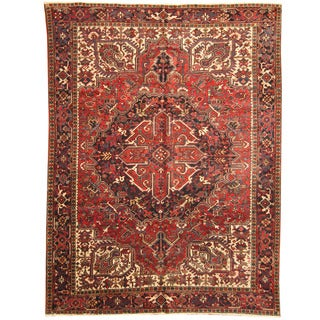 Herat Oriental Persian Hand-knotted 1940s Semi-antique Tribal Heriz Wool Rug (8'10 x 12')